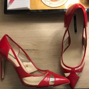 Zara Red Court Shoes